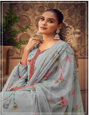 grey top2.30m  - 100% pure cotton | bottom 3m - pure cotton | dupatta 2.30m - pure nazneen  fabric digital style print with embrodiery work work casual
