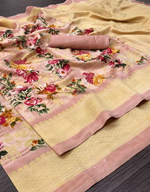 baby pink art silk  fabric digital printed work casual