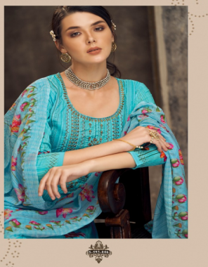 sky blue top - pure cotton | bottom - pure cotton | dupatta - pure cotton  fabric swarovski diamond work + digital printed work casual