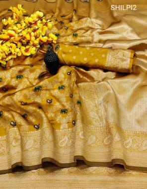 musterd yellow soft banarsi silk fabric fancy weaving border + rich pallu work casual