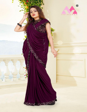 wine saree - knitted lycra | blouse - banglory  - ready made blouse size upto xl fabric sequance embroidery  work ethic