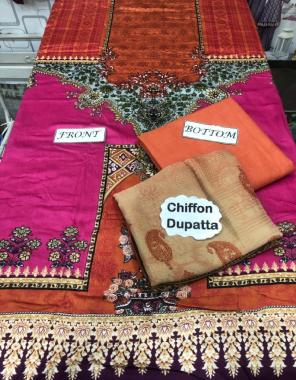 dark pink top - soft lawn | bottom - cotton lawn | dupatta - chiffon fabric printed work casual