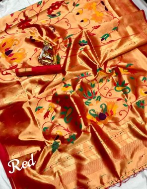 red pure kanchipuram saree fabric weaving work casual