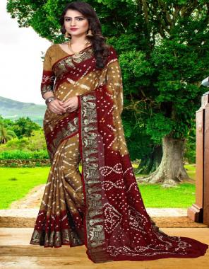 light brown art silk fabric bandhni print work ethic