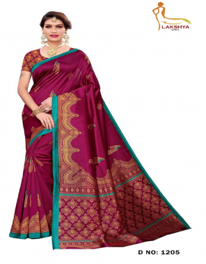wine bhagalpuri silk fabric print work casual