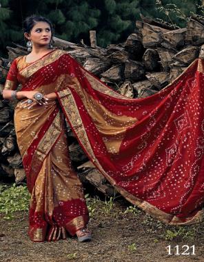 light brown art silk fabric bandhej print work running