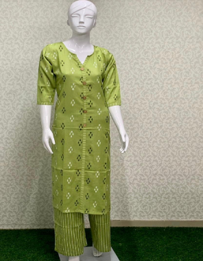 parrot green cotton fabric printe work casual