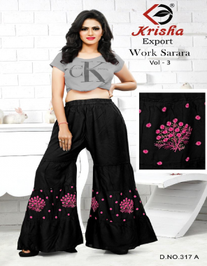 black 14kg rayon  fabric embroidery  work casual