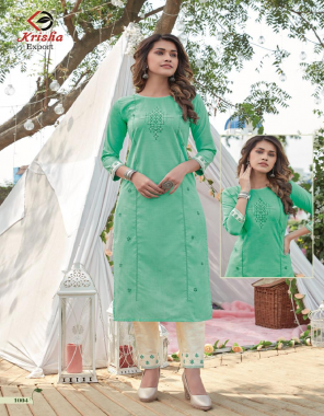 light green top - mentos cotton with cotton dhaga | pant - cotton flax  fabric embroidery work casual