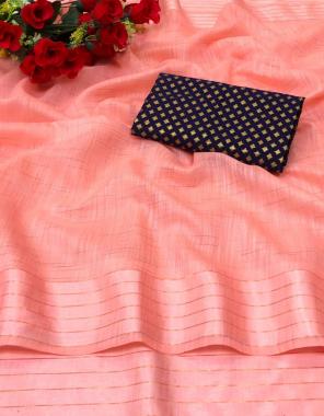 peach pure soft linen fabric beautiful slub weaving + jacquard diamond butti work casual