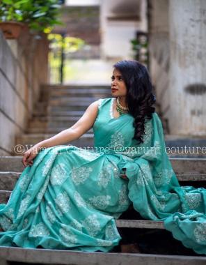 sky blue rangoli silk fabric heavy chain stitch  work casual