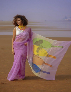 light voilet saree - organza   blouse - banglory fabric digital printed work casual