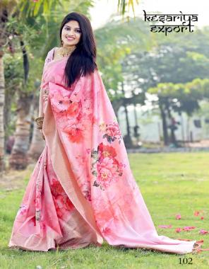 pink banglory & banarasi silk fabric digital printed work running
