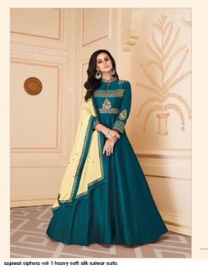 rama blue top- heavy soft silk | bottom - heavy dull santoon | dupatta - heavy soft chinnon with four side work  fabric embroidery work casual