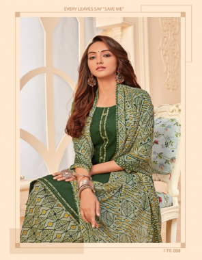 dark green top - pure zam jacquard with stiched tie and fancy buttin | bottom - pure soft cotton digital style chiffon print | dupatta - pure nazmeen chiffon print fabric printed work ethic