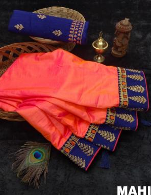 orange saree - sana silk   blouse - banglory silk + work fabric heavy work border work casual