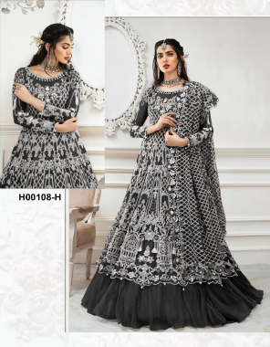 black top - heavy net with sequance work + stone work   sleeves - net embroidery   inner - heavy santoon   bottom -heavy santoon + net  dupatta - net with embroidery work + stone work  length - max up to 50