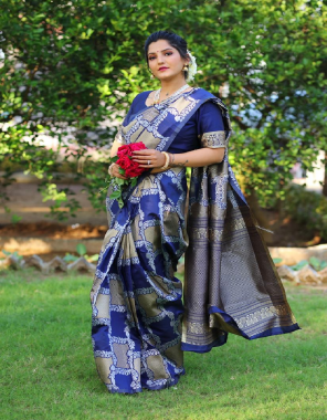 royal blue soft lichi silk fabric jacquard work + rich pallu  work casual