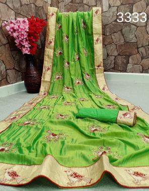 parrot green pure rangoli silk  fabric beautiful sparrow design + fancy border work casual