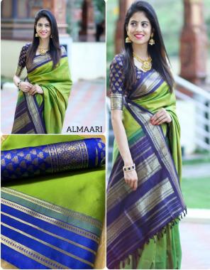 parrot green banarasi silk fabric jacquard work casual