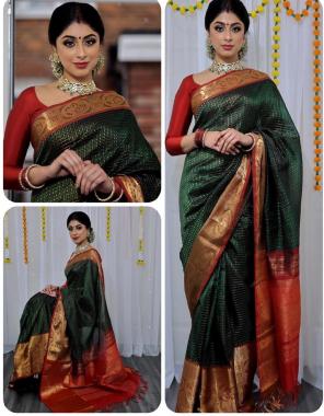 dark green lichi silk fabric palin + beautiful rich pallu work wedding