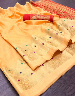 orange asaam silk  fabric weaving border work casual