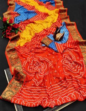 orange art silk with zari weaving fabric heavy zari border + bandhej print work casual
