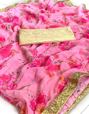 baby pink royal georgette| blouse - banglory silk |print and sequance lace fabric print + sequance lace work party wear
