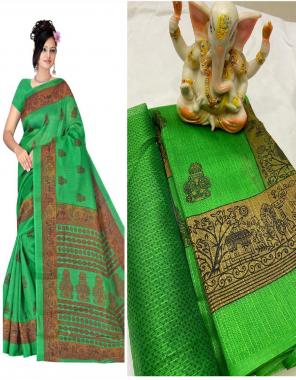 parrot green bhagalpuri silk fabric printed work casual