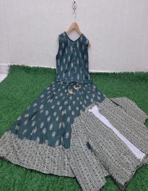 rama blue top & koti - cotton   length - 50+ fabric digital printed work casual