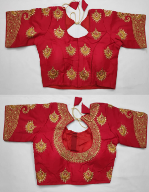red heavy fantom fabric tread work + diamond work work casual