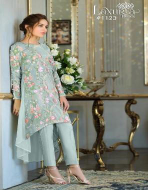 light green top - pure georgette | inner - santoon| bottom - jam satin | size top - 42 - bottom - 36-42 fabric sequance work with designer embroidery sleevs  work casual