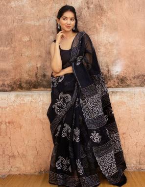 black premium organza fabric digital printed work party wear