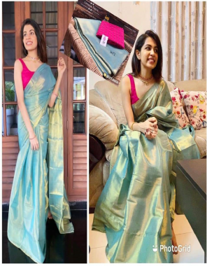 golden aqua saree - 100% pure tissue silk cotton with dual shade contrast jacquard blouse   blouse - exclusive handmade golden pearl blouse - unstiched fabric palin   blouse - hand made golden pearl blouse work casual
