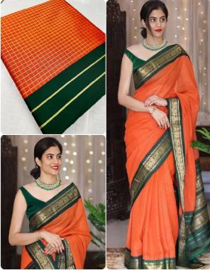 orange & dark green lichi silk fabric checks printed work festive