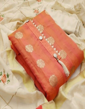 orange top - banarasi   bottom + inner - santoon ( 2.10 +1.50m)   dupatta - chanderi embroidery work fabric embroidery  work casual