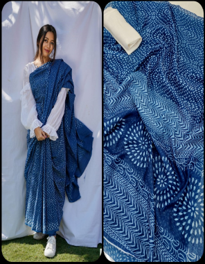 blue saree - premium soft linen with digital print with jari border | blouse - banglori satin plain fabric digital printed work casual