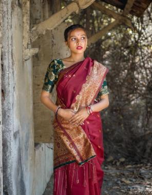 maroon barasi silk  fabric rich pallu + jacqaurad border work casual