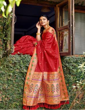 red silk fabric jacquard  work casual