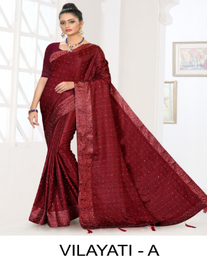 red fancy patta silk fabric sequance  work party wear