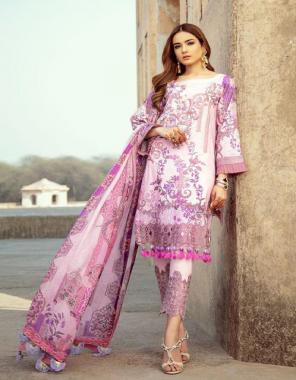 violet top 2.40m- cotton   bottom 2m - cotton   dupatta 2.25m - heavy cotton fabric printed work casual