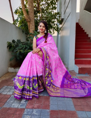 pink pure pattu  fabric hand made & hand - block print work casual