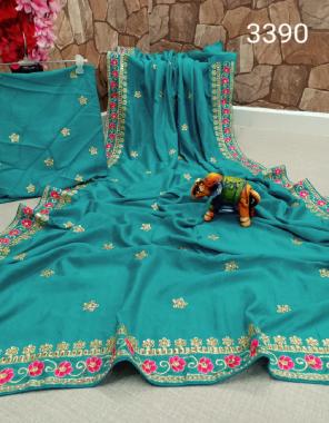 sky blue saree - vichitra silk | blouse - banglory silk fabric embroidery border + stone work work casual