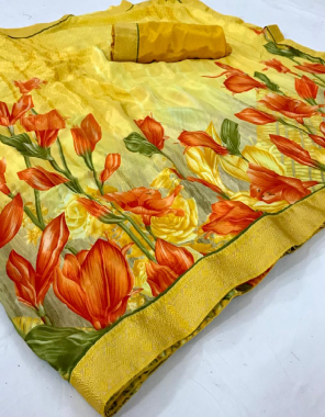 yellow satin crape fabric digital printed work casual