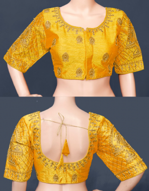 musterd yellow fantom silk   front open fabric thread embroidery work casual