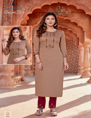 light brown top - fancy naylon viscose with embroidery | bottom - rayon slub lycra with embroidery fabric embroidery work casual