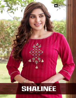 dark pink pure cotton fabric embroidery work casual