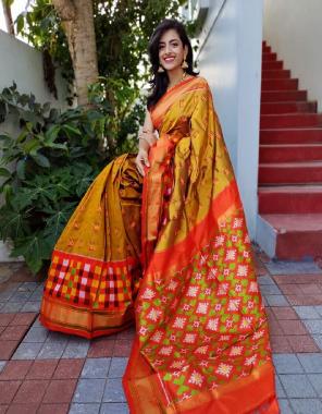 golden pure pattu fabric handmade & hand block print work casual