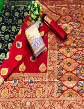 red pure silk fabric golden zari work casual