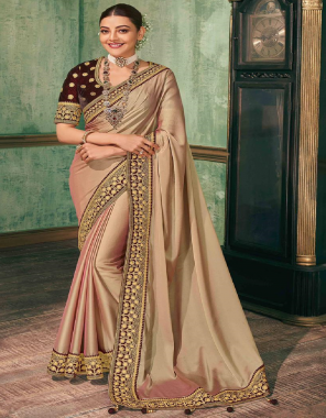 peach saree - royal vichitra silk - embroidery - cut - 5.50 | blouse - drak maroon velvet - full embroidery - cut -0.80 cm  fabric full embroidery work wedding
